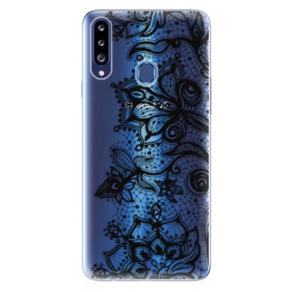 Odolné silikonové pouzdro iSaprio - Black Lace - Samsung Galaxy A20s