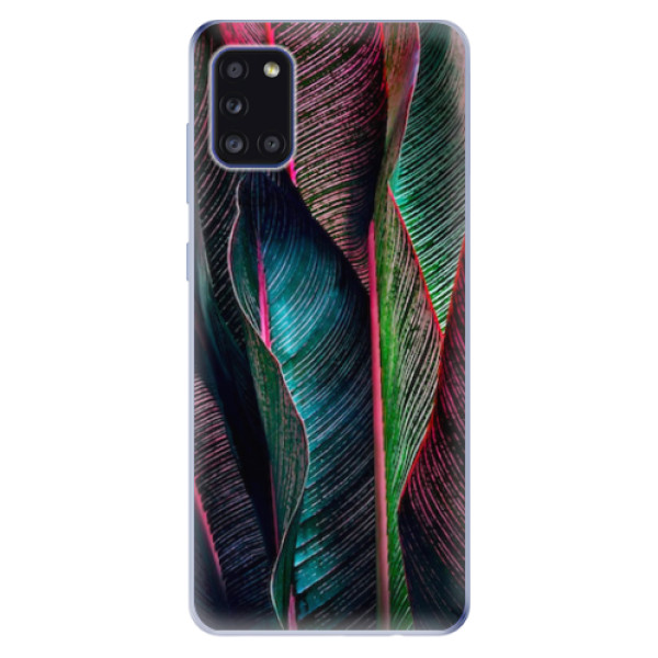 Odolné silikonové pouzdro iSaprio - Black Leaves - Samsung Galaxy A31