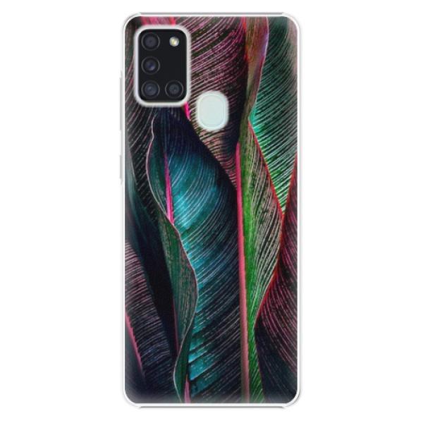 Plastové pouzdro iSaprio - Black Leaves - Samsung Galaxy A21s
