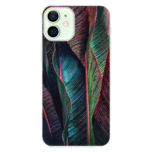 Plastové pouzdro iSaprio - Black Leaves - iPhone 12 mini