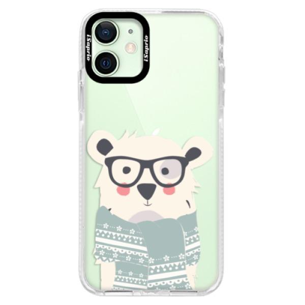 Silikonové pouzdro Bumper iSaprio - Bear with Scarf - iPhone 12 mini