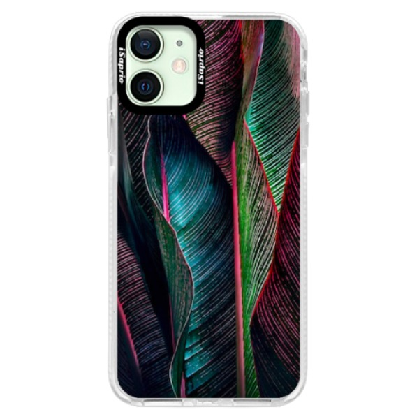 Silikonové pouzdro Bumper iSaprio - Black Leaves - iPhone 12 mini