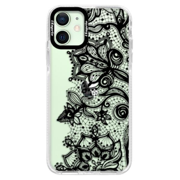 Silikonové pouzdro Bumper iSaprio - Black Lace - iPhone 12 mini
