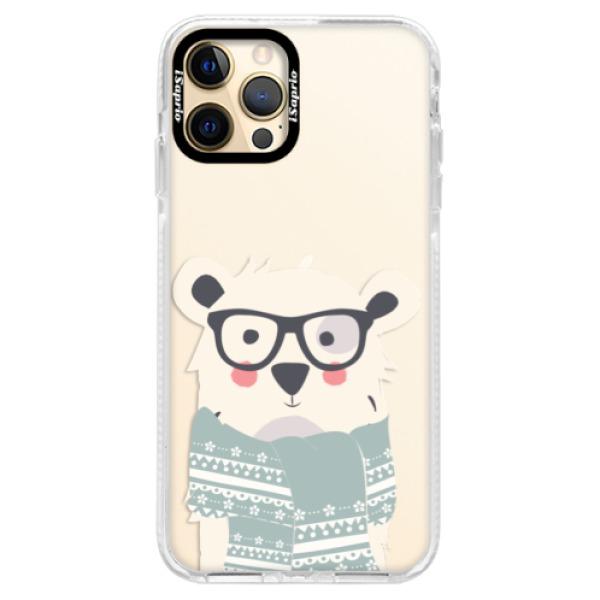 Silikonové pouzdro Bumper iSaprio - Bear with Scarf - iPhone 12 Pro