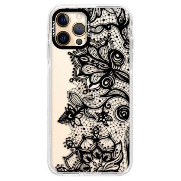 Silikonové pouzdro Bumper iSaprio - Black Lace - iPhone 12 Pro