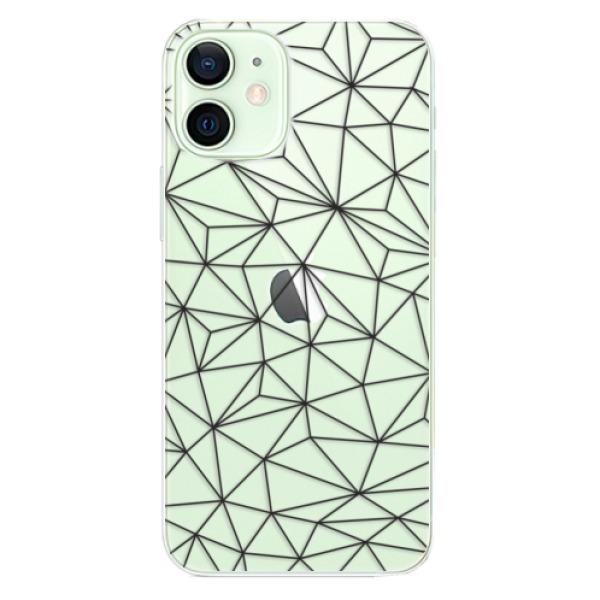 Odolné silikonové pouzdro iSaprio - Abstract Triangles 03 - black - iPhone 12 mini