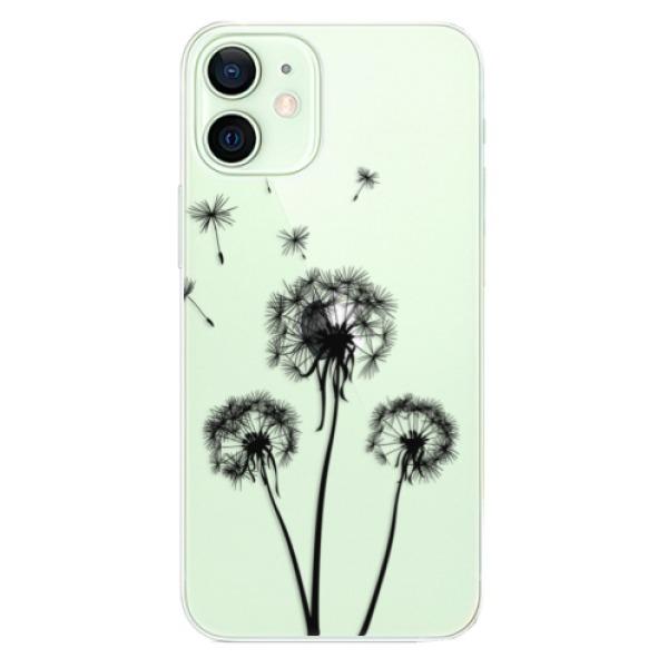 Odolné silikonové pouzdro iSaprio - Three Dandelions - black - iPhone 12 mini