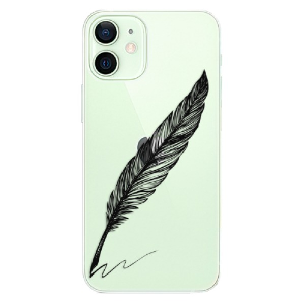 Odolné silikonové pouzdro iSaprio - Writing By Feather - black - iPhone 12 mini