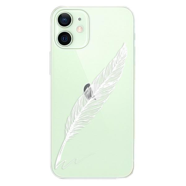 Odolné silikonové pouzdro iSaprio - Writing By Feather - white - iPhone 12 mini