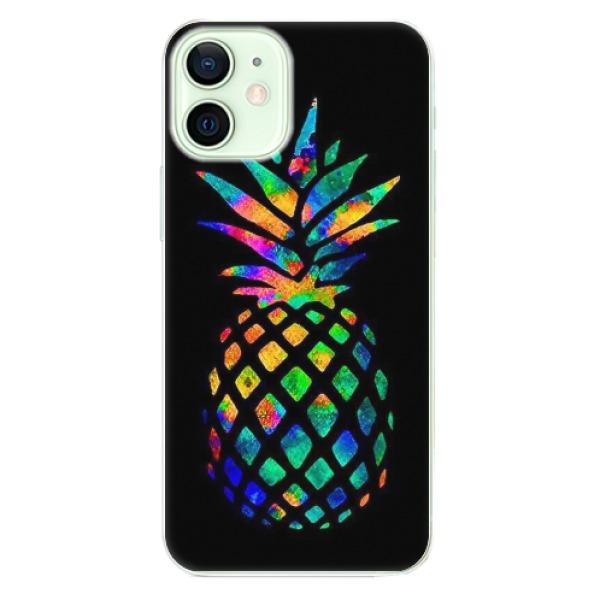 Odolné silikonové pouzdro iSaprio - Rainbow Pineapple - iPhone 12 mini
