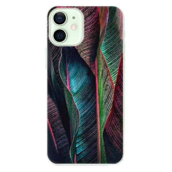 Odolné silikonové pouzdro iSaprio - Black Leaves - iPhone 12 mini