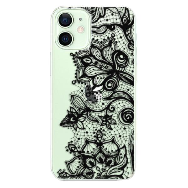 Odolné silikonové pouzdro iSaprio - Black Lace - iPhone 12 mini