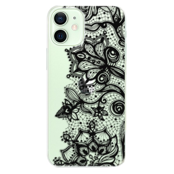 Odolné silikonové pouzdro iSaprio - Black Lace - iPhone 12