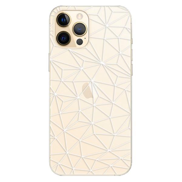 Odolné silikonové pouzdro iSaprio - Abstract Triangles 03 - white - iPhone 12 Pro