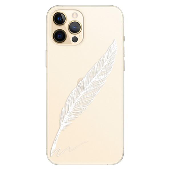 Odolné silikonové pouzdro iSaprio - Writing By Feather - white - iPhone 12 Pro