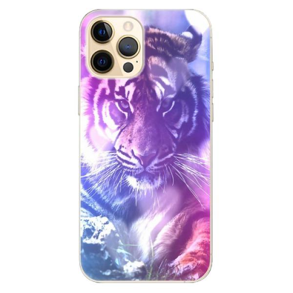 Odolné silikonové pouzdro iSaprio - Purple Tiger - iPhone 12 Pro