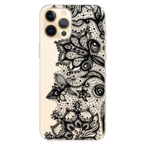 Odolné silikonové pouzdro iSaprio - Black Lace - iPhone 12 Pro