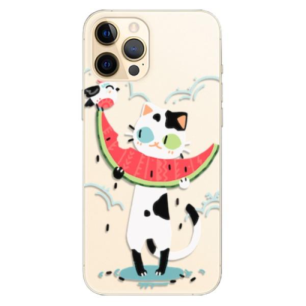 Odolné silikonové pouzdro iSaprio - Cat with melon - iPhone 12 Pro