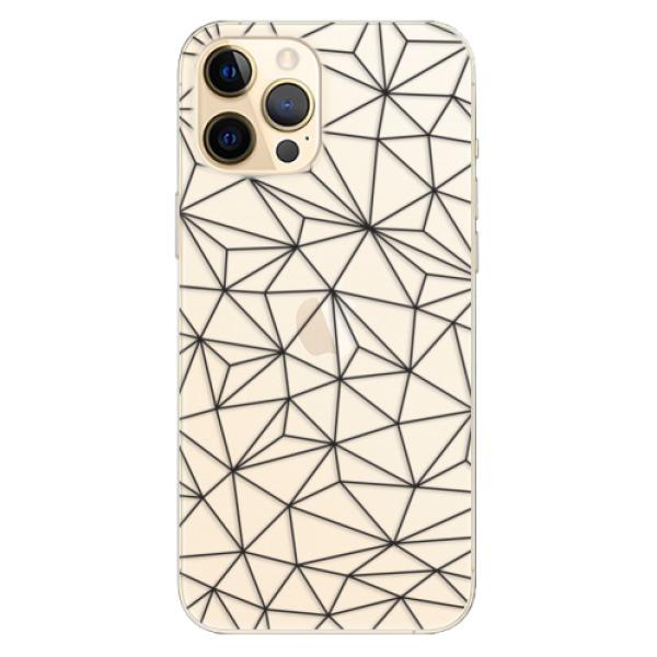 Odolné silikonové pouzdro iSaprio - Abstract Triangles 03 - black - iPhone 12 Pro Max