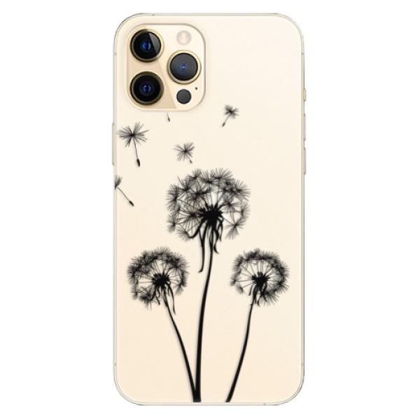 Odolné silikonové pouzdro iSaprio - Three Dandelions - black - iPhone 12 Pro Max