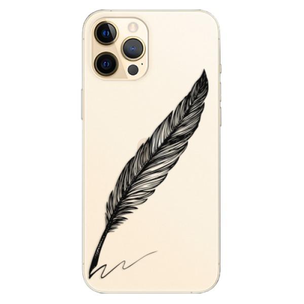 Odolné silikonové pouzdro iSaprio - Writing By Feather - black - iPhone 12 Pro Max