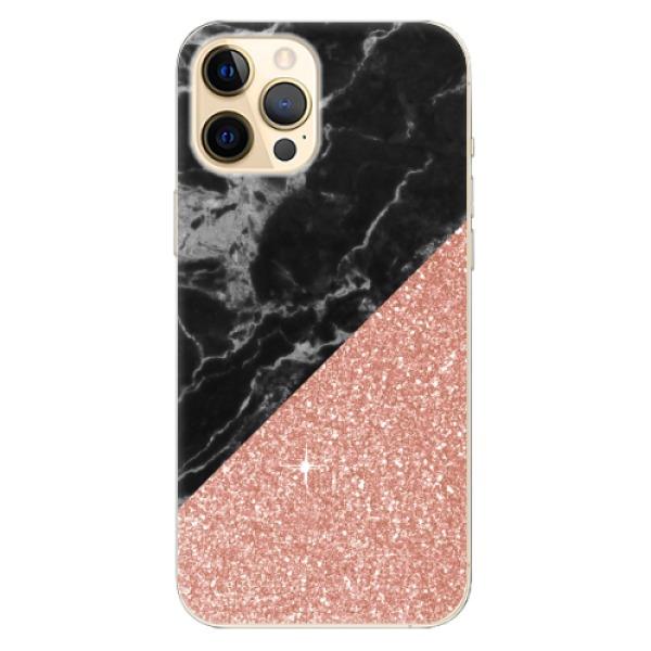 Odolné silikonové pouzdro iSaprio - Rose and Black Marble - iPhone 12 Pro Max