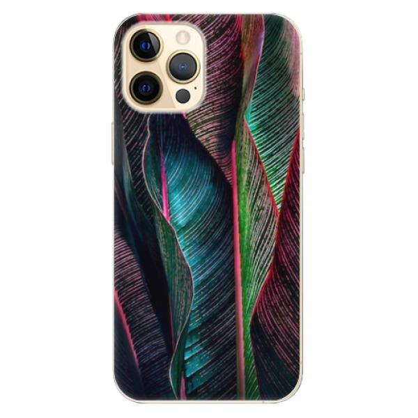 Odolné silikonové pouzdro iSaprio - Black Leaves - iPhone 12 Pro Max