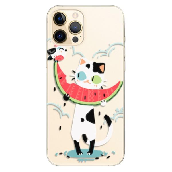 Odolné silikonové pouzdro iSaprio - Cat with melon - iPhone 12 Pro Max