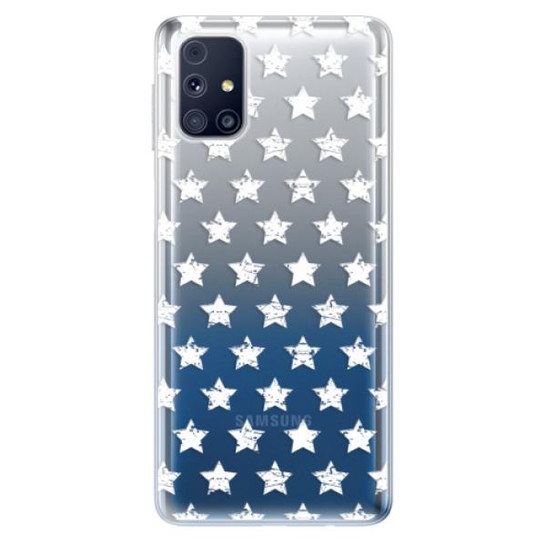 Odolné silikonové pouzdro iSaprio - Stars Pattern - white - Samsung Galaxy M31s