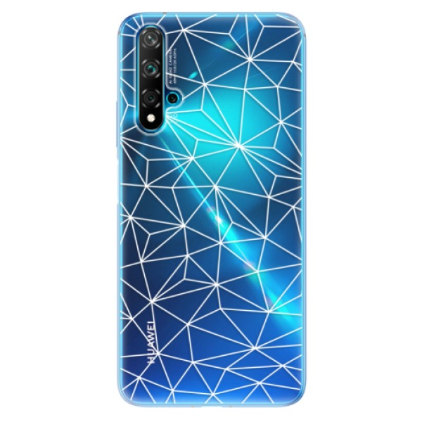 Odolné silikonové pouzdro iSaprio - Abstract Triangles 03 - white - Huawei Nova 5T