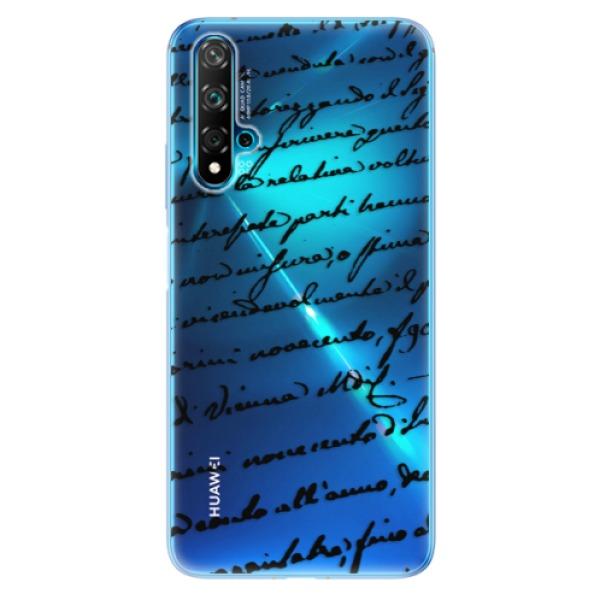 Odolné silikonové pouzdro iSaprio - Handwriting 01 - black - Huawei Nova 5T