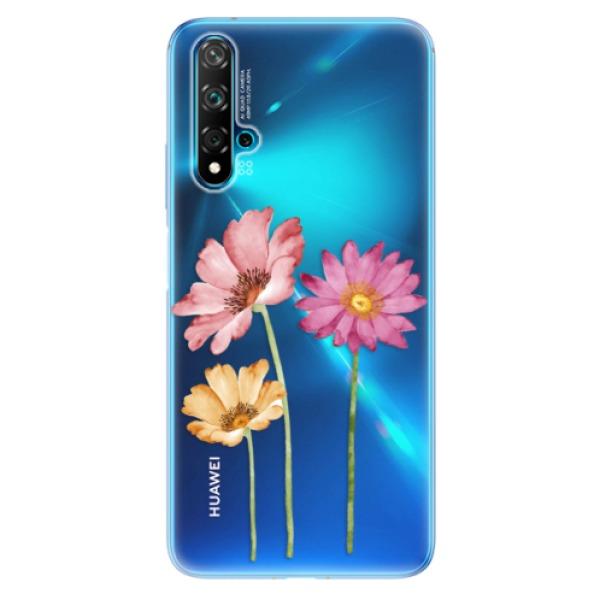 Odolné silikonové pouzdro iSaprio - Three Flowers - Huawei Nova 5T