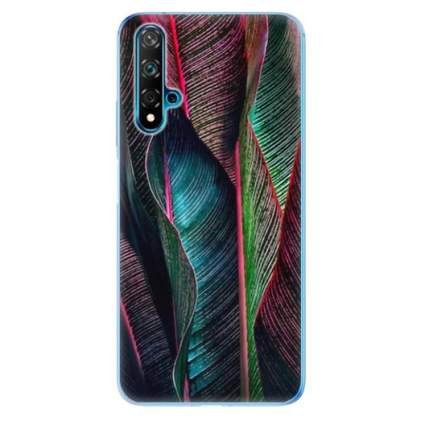 Odolné silikonové pouzdro iSaprio - Black Leaves - Huawei Nova 5T