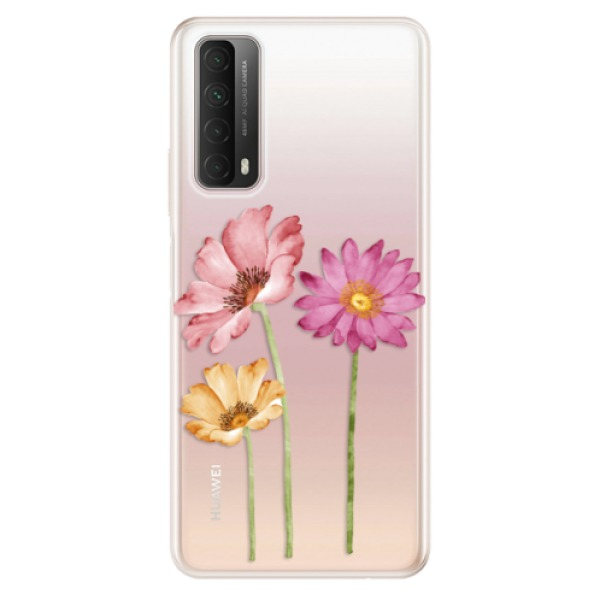 Odolné silikonové pouzdro iSaprio - Three Flowers - Huawei P Smart 2021