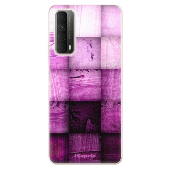 Odolné silikonové pouzdro iSaprio - Purple Squares - Huawei P Smart 2021