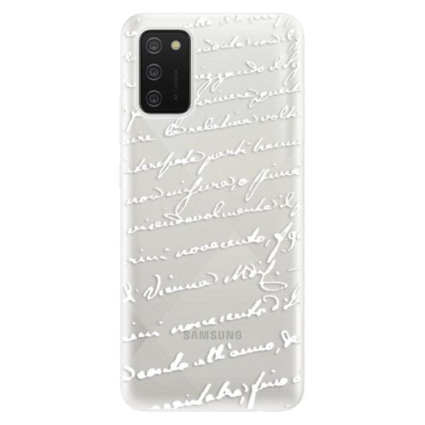 Odolné silikonové pouzdro iSaprio - Handwriting 01 - white - Samsung Galaxy A02s