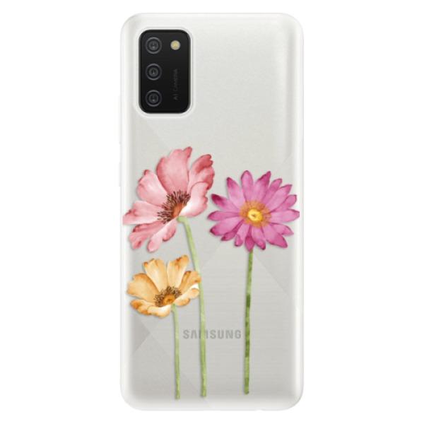 Odolné silikonové pouzdro iSaprio - Three Flowers - Samsung Galaxy A02s