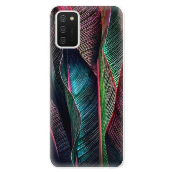 Odolné silikonové pouzdro iSaprio - Black Leaves - Samsung Galaxy A02s