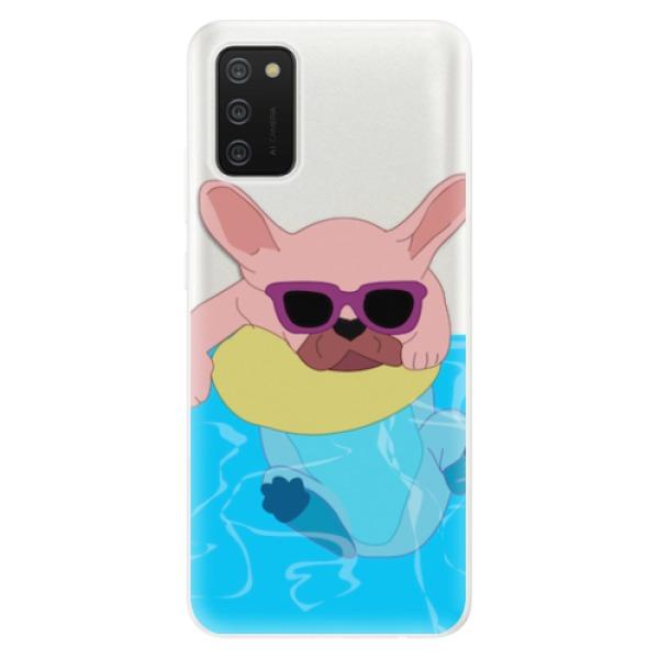 Odolné silikonové pouzdro iSaprio - Swimming Dog - Samsung Galaxy A02s