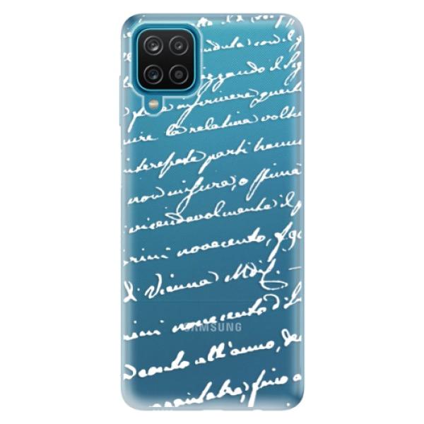 Odolné silikonové pouzdro iSaprio - Handwriting 01 - white - Samsung Galaxy A12
