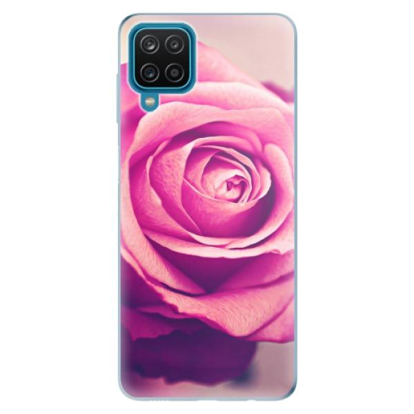 Odolné silikonové pouzdro iSaprio - Pink Rose - Samsung Galaxy A12