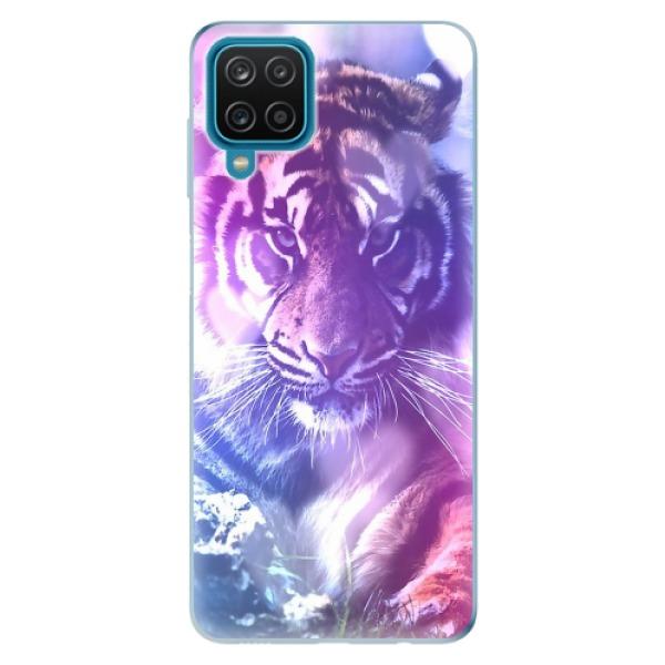 Odolné silikonové pouzdro iSaprio - Purple Tiger - Samsung Galaxy A12
