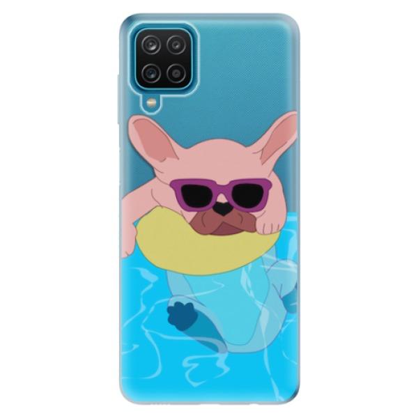 Odolné silikonové pouzdro iSaprio - Swimming Dog - Samsung Galaxy A12