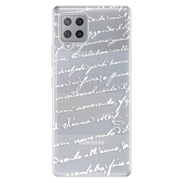 Odolné silikonové pouzdro iSaprio - Handwriting 01 - white - Samsung Galaxy A42
