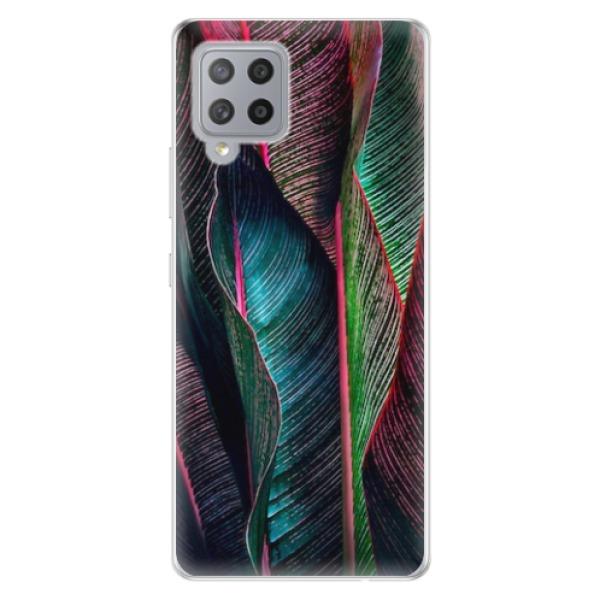 Odolné silikonové pouzdro iSaprio - Black Leaves - Samsung Galaxy A42