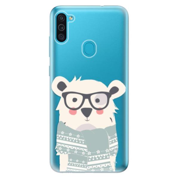 Odolné silikonové pouzdro iSaprio - Bear with Scarf - Samsung Galaxy M11