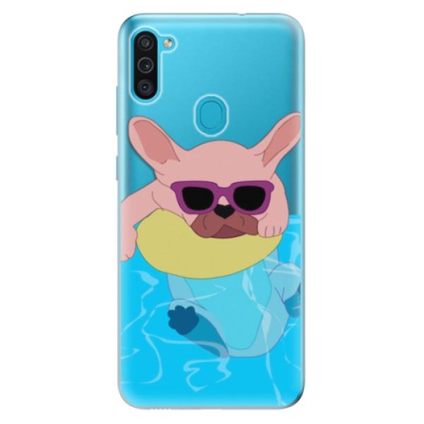 Odolné silikonové pouzdro iSaprio - Swimming Dog - Samsung Galaxy M11