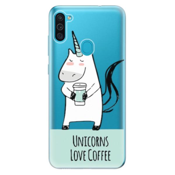 Odolné silikonové pouzdro iSaprio - Unicorns Love Coffee - Samsung Galaxy M11