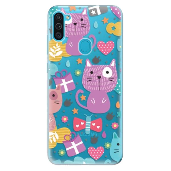 Odolné silikonové pouzdro iSaprio - Cat pattern 01 - Samsung Galaxy M11