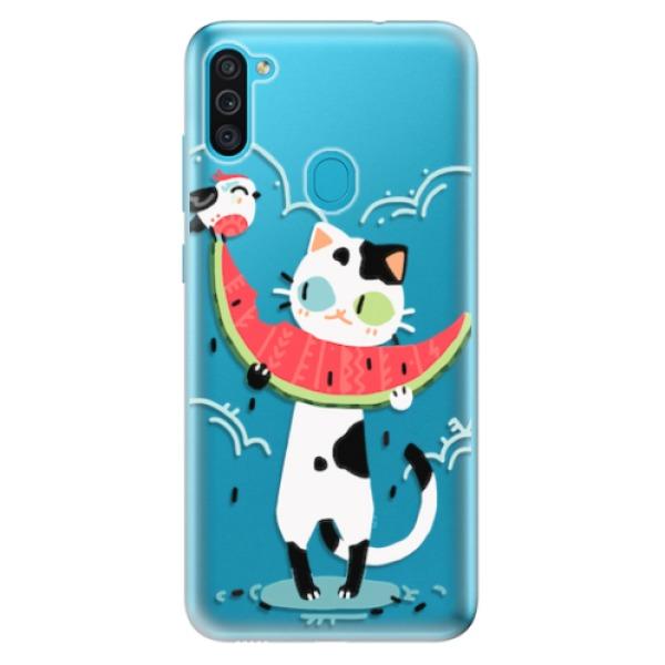 Odolné silikonové pouzdro iSaprio - Cat with melon - Samsung Galaxy M11